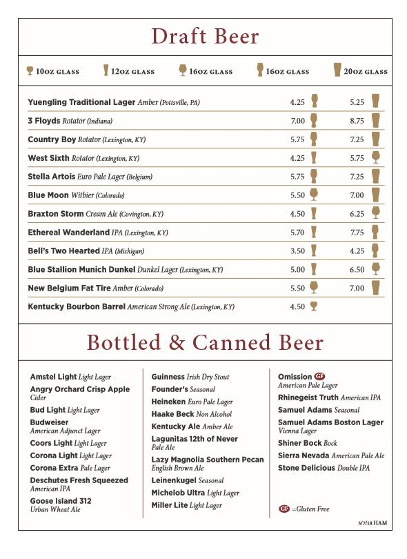 Hamburg HarryS Beer Menu  Bhg